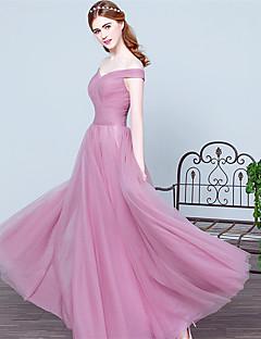 포멀 이브닝 드레스-블러슁 핑크 볼 드레스 바닥 길이 오프 더 숄더 튤