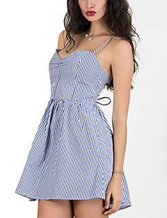 Women's Party Sexy / Punk & Gothic Sheath Dress,Striped Strap Mini Sleeveless Blue / Black Rayon All Seasons
