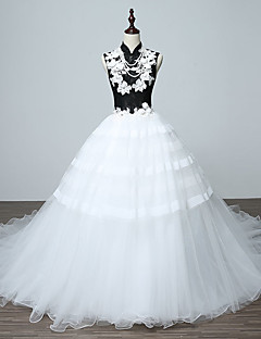 Formal Evening Dress A-line High Neck Sweep / Brush Train Lace with Lace