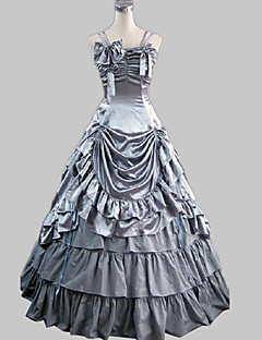One-Piece/Dress Gothic Lolita Princess Cosplay Lolita Dress Silver Solid Sleeveless Floor-length Dress For Women Satin