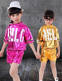 Jazz Outfits Children's Performance Polyester Sequins 2 Pieces Fuchsia / White / Yellow Jazz Sleeveless Shorts / Top