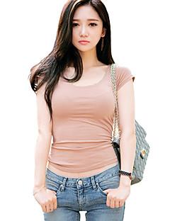 Vrouwen Sexy / Street chic Zomer T-shirt,Casual/Dagelijks Effen Ronde hals Korte mouw Roze / Zwart Katoen / Rayon Dun