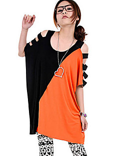Women's Color Block Blue / Pink / White / Orange / Yellow T-shirt,U Neck Short Sleeve