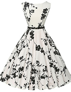 Women's Vintage / Simple Floral Sheath / Skater Dress,Round Neck Knee-length Cotton(Random Flower Pattern)
