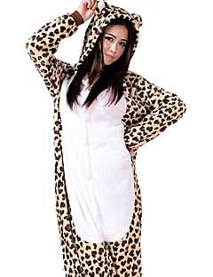 Kigurumi Pajamas Leopard Leotard/Onesie Halloween Animal Sleepwear White Patchwork Flannel Kigurumi Unisex Halloween