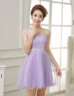 Knee-length Satin / Tulle Bridesmaid Dress A-line One Shoulder with Lace