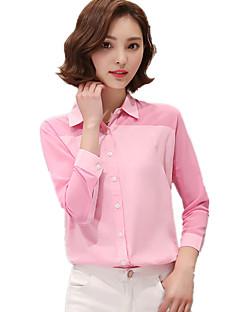 Mulheres Camisa Casual Simples Todas as Estações,Patchwork Rosa / Branco / Verde Poliéster Colarinho de Camisa Manga Longa Fina