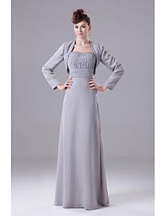 A-line Mother of the Bride Dress Floor-length Chiffon with Beading / Draping