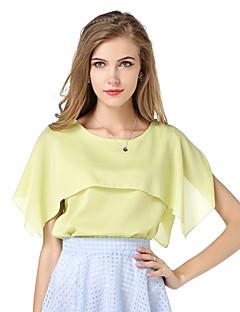 婦人向け ラウンドネック レイヤード Tシャツ,ポリエステル 半袖