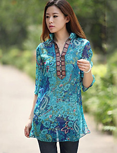 Women's Casual/Daily Boho Summer Blouse,Floral Stand ¾ Sleeve Blue Polyester Thin