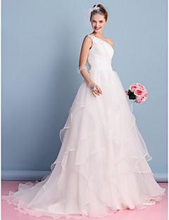 A-라인 웨딩 드레스 코트 트레인 원 숄더 오간자 와 비즈