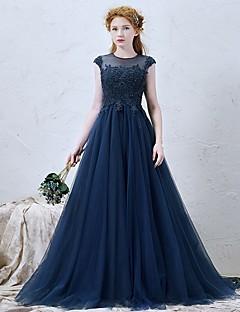 Serata formale Vestito Linea-A Con decorazione gioiello Strascico a terra Tulle con Con applique / Perline