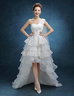 A-라인 웨딩 드레스 비대칭 원 숄더 레이스 / 튤 와 레이스