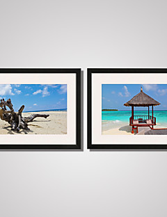 Framed The Old Wood and Seascape Canvas Print Art Set of 2 for Home Decoration Ready To Hang