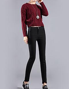 Mulheres Calças Casual Skinny Algodão Micro-Elástica Mulheres