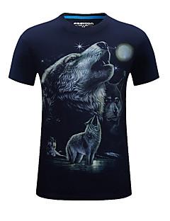 남성의 면 / 아크릴 프린트 짧은 소매 캐쥬얼 / 스포츠 티셔츠-블랙 / 블루