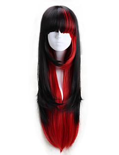 פאות לוליטה לוליטה פאנק לוליטה ארוך אדום / Black פאות לוליטה 75 CM פאות קוספליי קולור בלוק פאה ל נשים