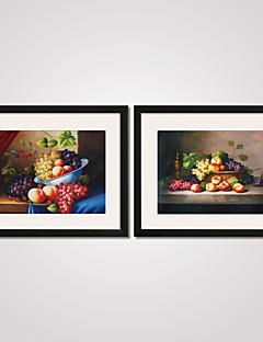 Stillleben / Essen/Getränke Gerahmte Printkunst / Gerahmtes Leinenbild / Gerahmtes Set Wall Art,PVC Schwarz Passpartout inklusive Mit Feld