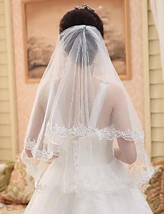 Wedding Veil One-tier Elbow Veils Lace Applique Edge Lace White White