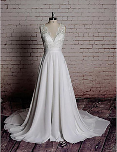 A-line Wedding Dress-White Chapel Train V-neck Chiffon / Lace