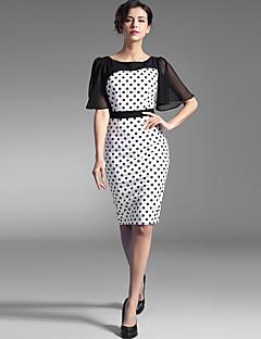 Baoyan® Damen Rundhalsausschnitt Kurze Ärmel Knielänge Kleid-160003