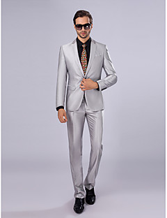 Suits Slim Fit Slim Notch Single Breasted One-button 2 Pieces Silver Straight Flapped