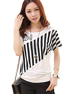 T-shirt Da donna Casual Taglie forti / Moda città Estate,Con stampe Rotonda Cotone / Rayon Bianco / Nero Manica corta Sottile