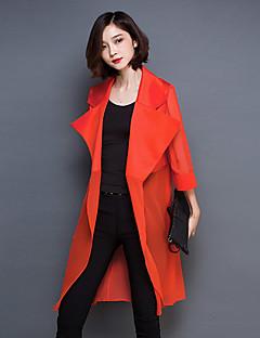 Mulheres Camisa Casual Simples Primavera,Sólido Vermelho / Preto Outros Colarinho de Camisa Meia Manga Fina