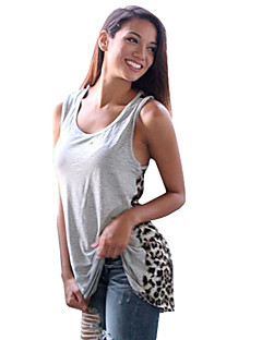 Women's Leopard Street chic Color Block Casual Beach Racerback Loose Tanks,U Neck Sleeveless