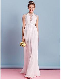LAN TING BRIDE Sheath / Column Wedding Dress See-Through Sweep / Brush Train High Neck Chiffon with Sash / Ribbon Bow Draped Lace