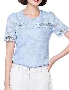 Summer Casual Women's Lace Hollowing Splicing Round Neck Chiffon Blouse Fashion Slim Short Sleeve Shirt Tops
