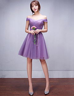 Short / Mini Tulle Bridesmaid Dress A-line Off-the-shoulder with Bow(s)