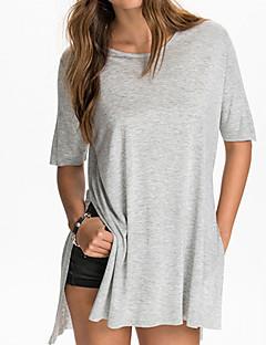 여성의 솔리드 라운드 넥 짧은 소매 티셔츠,심플 / 귀여운 캐쥬얼/데일리 블랙 / 그레이 면 여름 얇음