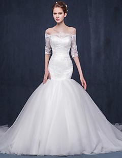 핏 & 플레어 웨딩 드레스 채플 트레인 보트넥 레이스 / 튤 와 아플리케 / 레이스