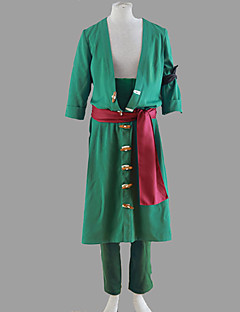Inspired by One Piece Roronoa Zoro Anime Cosplay Costumes Cosplay Suits Solid Green Coat / Pants