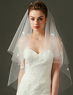 Wedding Veil One-tier Fingertip Veils Lace Applique Edge Tulle