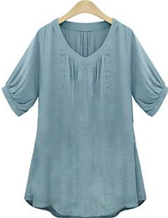 Vrouwen Effen T-shirt V-hals,Korte mouw,Katoen / Linnen