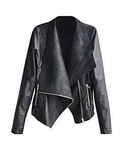 Women's Casual/Daily Simple Spring Jackets,Solid Notch Lapel Long Sleeve Black PU