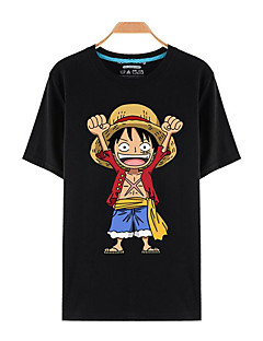 Inspired by One Piece Monkey D. Luffy Anime Cosplay Costumes Cosplay T-shirt Print Black Short Sleeve Top
