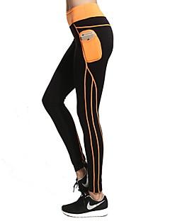 Yoga-Hose Strumpfhosen/Lange Radhose Atmungsaktiv Rasche Trocknung Normal Hochelastisch Sportbekleidung Schwarz DamenYoga Übung & Fitness