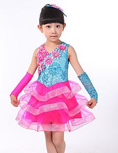 Optredens Outfits Kinderen Prestatie elastan Pailletten 3-delig Mouwloos Natuurlijk Handschoenen / Jurken S:52cm  M:60cm  L:62cm  XL:68cm
