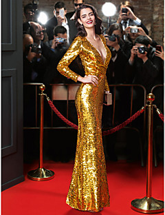 TS Couture® Formal Evening Dress-Gold Sheath/Column V-neck Floor-length Sequined
