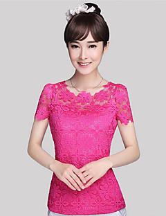 Women's Solid Blue / Pink / White / Beige / Black Blouse,Round Neck Short Sleeve
