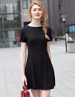 Zishangbaili® Damen Rundhalsausschnitt Kurze Ärmel Knielänge Kleid-XZ52063
