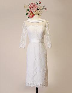 שמלת כלה -מעטפת\עמוד באורך  הברך-מחשוף עמוק-תחרה / סאטן / טול