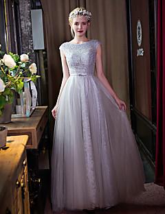 포멀 이브닝 드레스 A-라인 스쿱 바닥 길이 레이스 / 튤 와 비즈 / 리본 / 레이스 / 진주 디테일