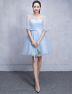 Knee-length Tulle Bridesmaid Dress A-line Scoop with Appliques / Side Draping