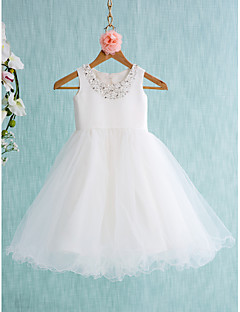 LAN TING BRIDE Ball Gown Knee-length Flower Girl Dress - Satin Tulle Jewel with Beading Bow(s)