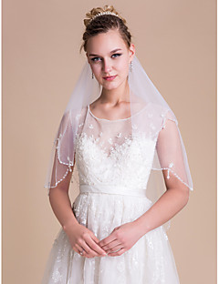 Wedding Veil Two-tier Elbow Veils Scalloped Edge/Pearl Trim Edge