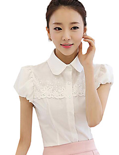 Women's Solid Vintage Fashion Hollow Out Chiffion Lace Shirt,Shirt Collar Short Sleeve